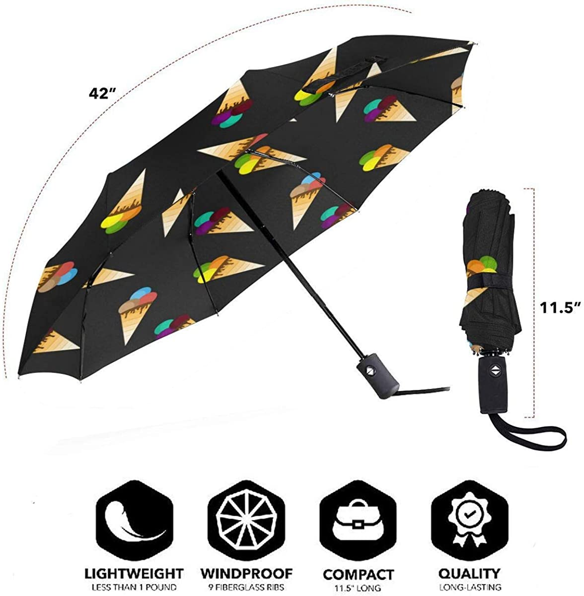 Ice Cream Pattern Seamless Compact Travel Umbrella Windproof Reinforced Canopy 8 Ribs Umbrella Auto Open And Close Button Customized