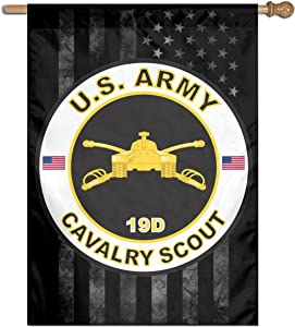 "Army MOS 19D Cavalry Scout Family Party Banner Flags Springtime 27""x37"" Decorative Garden Flag"