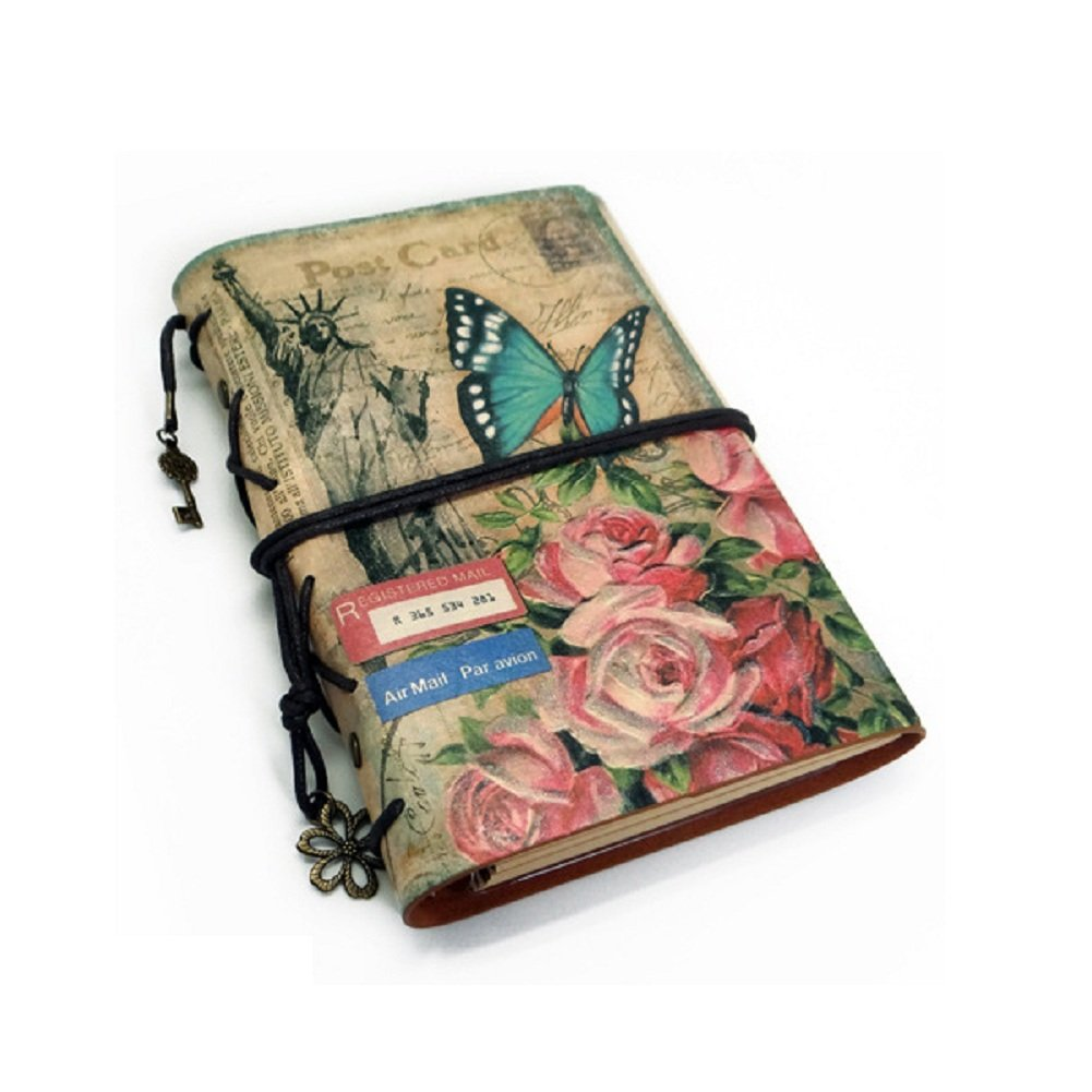 JOLIN Retro Soft PU Leather Cover Loose-Leaf Journals Traveller's Notebook-Creative Gift,Eiffel