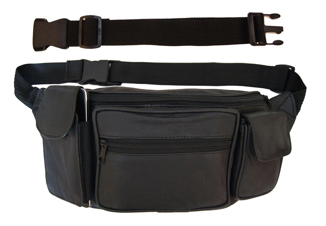 Large Leather Fanny Pack Mens Waist Belt Bag Womens Purse Hip Pouch Travel