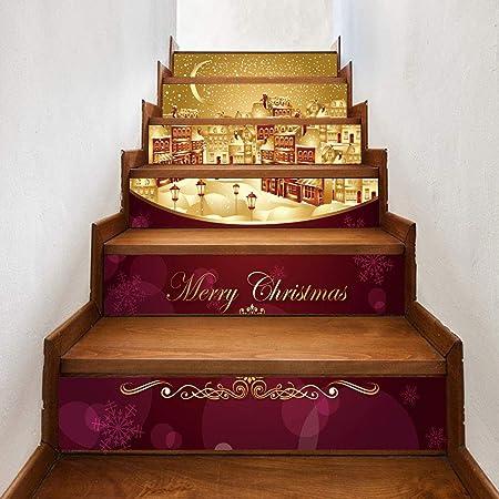 Pegatinas De Escaleras De Bricolaje 3D - Extraíbles Papel Pintado Pegatinas Para Escaleras Adhesivo Autoadhesivo Adornos Navideños Para Decoraciones De Escalones De Escalera De Azulejo De Santa,10: Amazon.es: Hogar