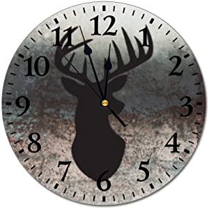 """PotteLove 12"""" Silent Vintage Wooden Round Wall Clock Non Ticking Quartz Battery Operated, Stag Deer Head Silhouette Rustic Chic Style Wooden Round Home Decor Wall Clock"""