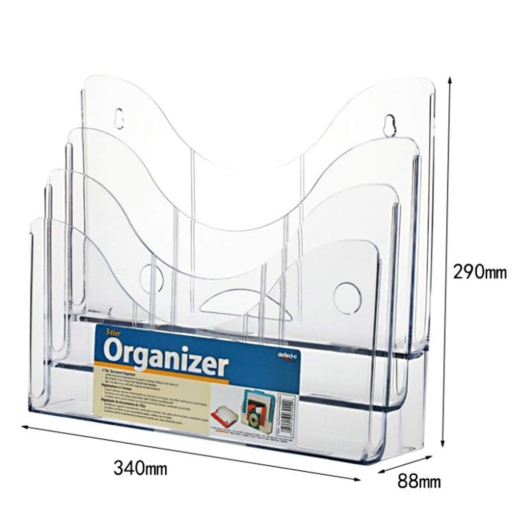 LPYMX Menu Holder Flyer Holder Three-Layer 9-Frame A6 Publicity Frame DL Flyer and brochure Clear A4 Display Stand by LPYMX