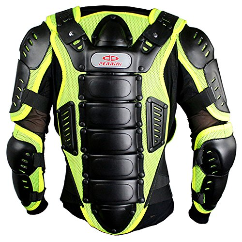Perrini Green CE Approved Full Body Armor Motorcycle Jacket Night Visibility (3XL)