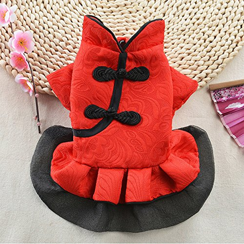 Smdoxi pet Buckle Spring and Summer Chinese Tang Suit Princess Clothes Simple Fashion Dress Dress Dog cat New Summer Dress