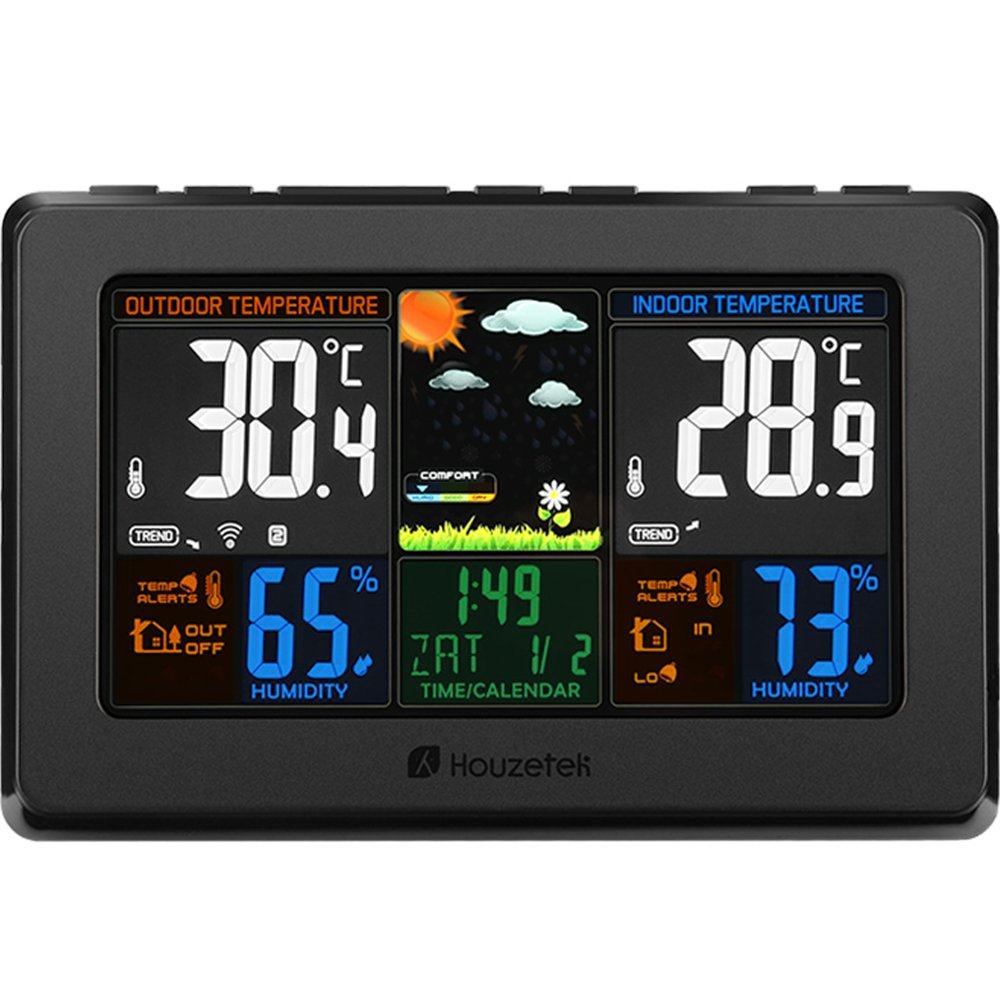 Wireless Weather Station, Houzetek S657 Indoor Outdoor Color Forecast Station with Sensor, Home Alarm Clock with Temperature Alerts, Charging USB Port