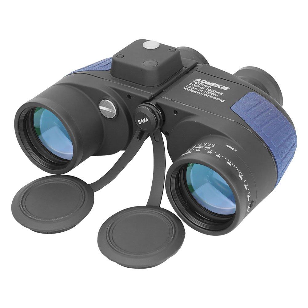 Aomekie Ultimate 7X50 HD Military Marine Binoculars with Illuminated Rangefinder Compass, BAK4 Porro Prism Floating Waterproof/Fogproof Nitrogen fillfulled (Army Blue)