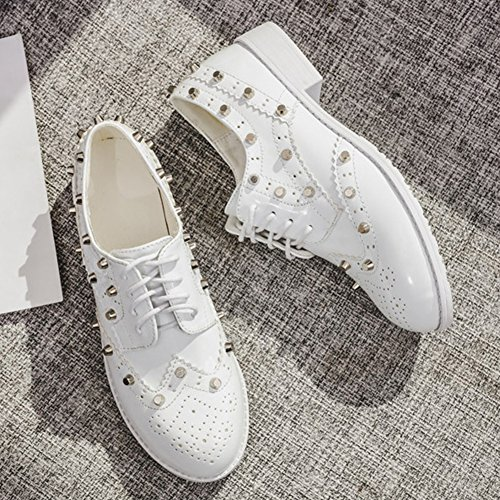 T-juli Damesmode Oxfords Schoenen - Performance Wingtip Lace-up Lage Hak Klinknagel Casual Schoenen Wit