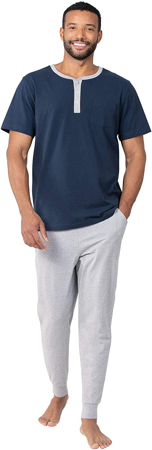 PajamaGram Mens Pajamas Soft Cotton - Ringer Tee Pajama Set for Men