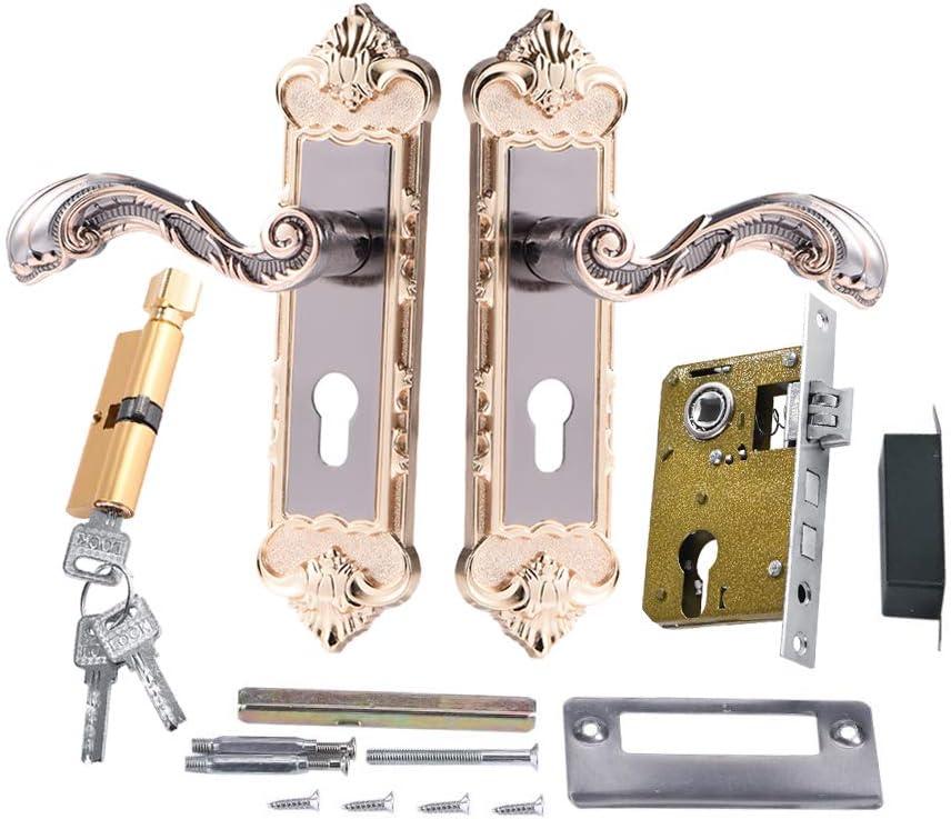 Cerradura de puerta de aleación de aluminio con llaves y accesorios, Cerradura de la manija de puerta estilo europeo con 3 llaves