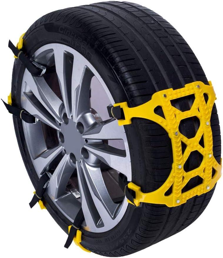 ALEKO SCP04 Adjustable Emergency Anti-Skid Snow Chain Belt Yellow Lot of 6