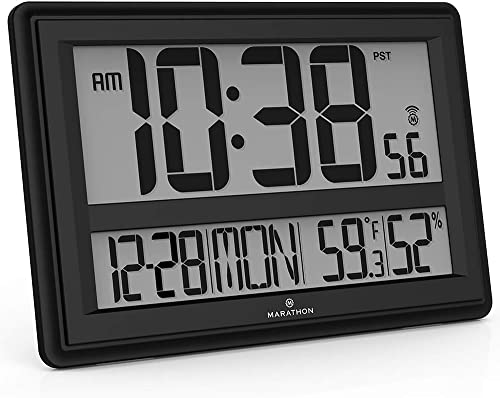 Marathon Jumbo Atomic Wall Clock with Large Display, Date, Indoor Temperature and Humidity – Batteries Included – CL030056BK Black