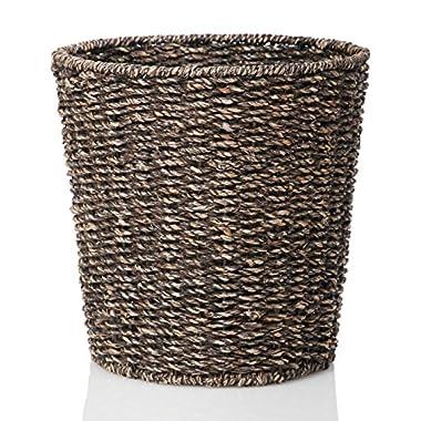 Waste Bin - Woven Waste Paper Basket for Bedroom, Kitchen, Bathroom or Office - Seagrass Trash Can - Versatile wastebasket for garbage and rubbish