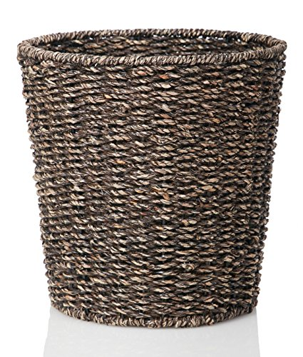 Waste bin woven waste paper basket for bedroom kitchen for Waste baskets for bathroom