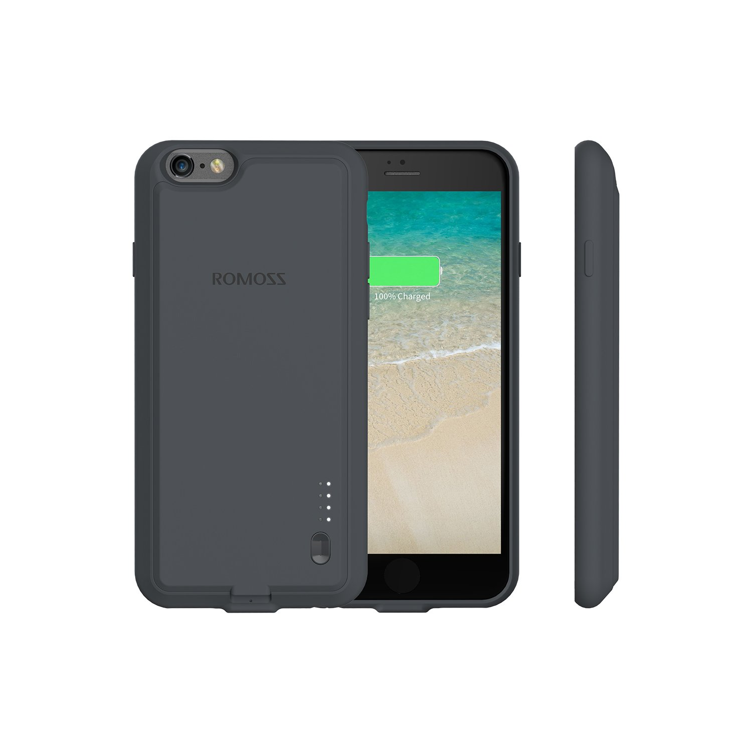 iPhone 6 Plus / 6s Plus Battery Case, ROMOSS Ultra Slim Extended Battery Case for iPhone 6 Plus / 6s Plus (5.5 inch) with 2800mAh Capacity - Gray