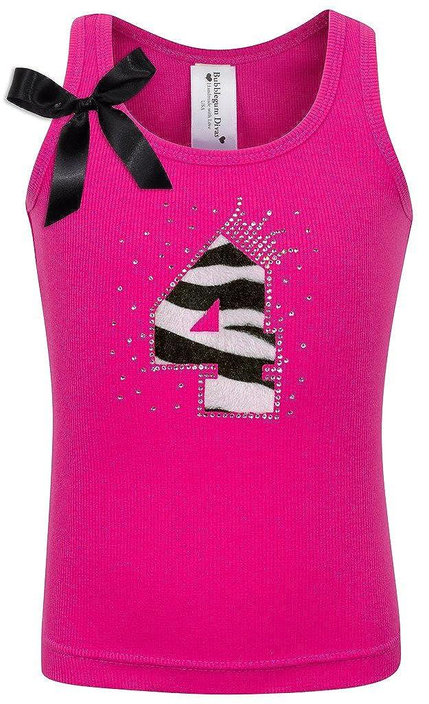 Bubblegum Divas Little Girls 4th Birthday Pink Zebra Print Animal Shirt