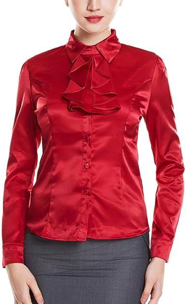 Camisa De Trabajo En Esencial Seda Camisa Sintética De Blusa En Vino Rojo Camisa De Traje En Color Liso En La Parte Superior Blusa Vestidos para La Diversidad: Amazon.es: Ropa y accesorios