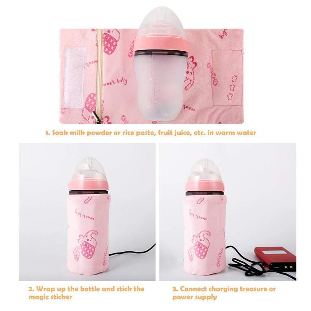 USB Baby Bottle Warmer Heater,Portable Travel Mug Milk Heater Feeding Bottle Thermostat Warming Bag for Milk Coffee Tea