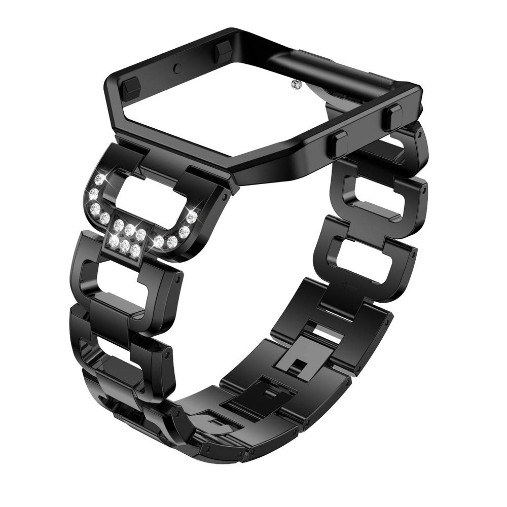 Aobiny 腕時計バンド ラインストーン キラキラ 交換用アクセサリーストラップ レディース Fitbit Blaze用フレーム付きステンレススチールバンド B07GRMZPJZ ブラック