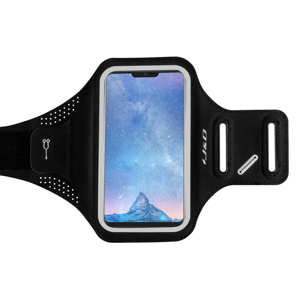 J&D LG G7 ThinQ Armband, LG G7 Armband, [Ultra-Slim] [Super-Comfort] [Lightweight] Sports Armband for LG G7 ThinQ, LG G7, with Key Holder Slot, Perfect Earphone Connection while Workout Running