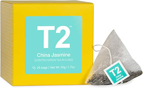 T2 Tea China Jasmine Tea, Green Teabags, 25pk, 25Count