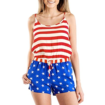 62e6d7d449c03 Womens Casual 2 Piece 7th of July Patriotic Outfits Sleeveless Tank Cami  Tops American Flag Red