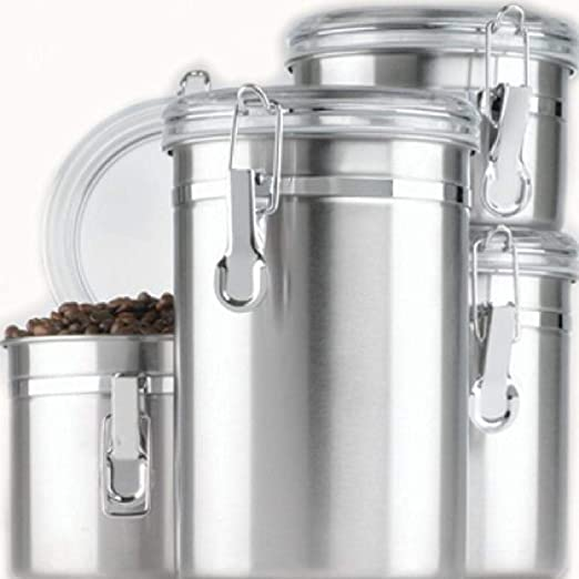 Anchor Hocking Round Stainless Steel Canister Set with Clear Acrylic Lid and Locking Clamp, 4-Piece Set - 24954