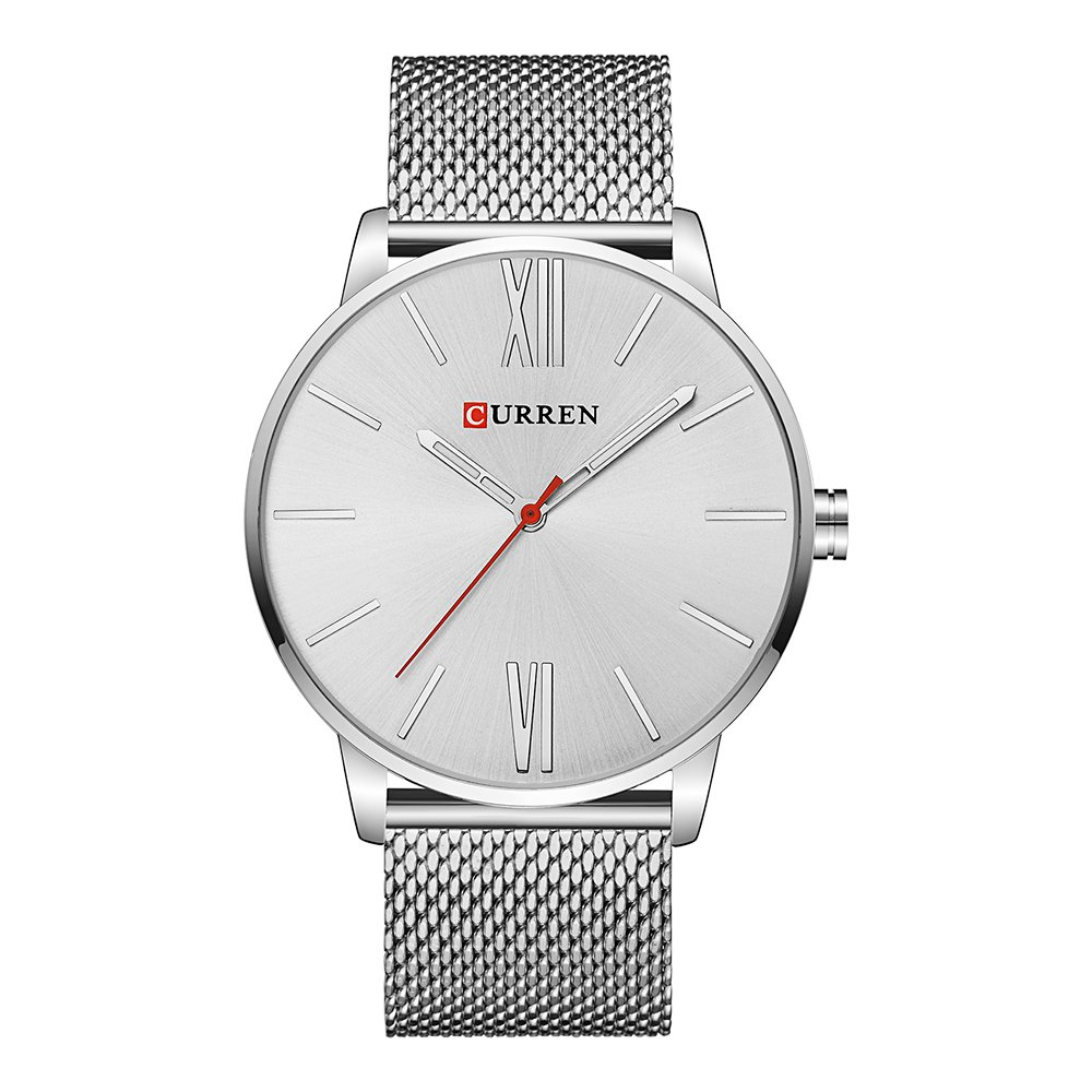 CURREN Men Watches Quartz Ultra Thin Dial Luxury Business Waterproof Stainless Steel Mesh Band Watch The Best Gift for Men 8238