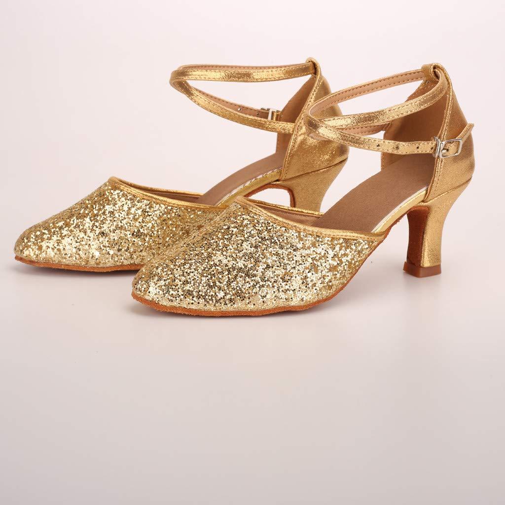 One promise Fashion Womens Modern Dance Shoes Waltz Ballroom Latin Dance Soft Bottom Sandals