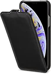 StilGut UltraSlim Case, Custodia Flip Case Custodia Verticale in Vera Pelle Pregiata per Apple iPhone XS, Nero Nappa