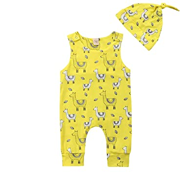 Amazon Com Unmega Infant Baby Girl Llama Bodysuit Cactus Fly Sleeve