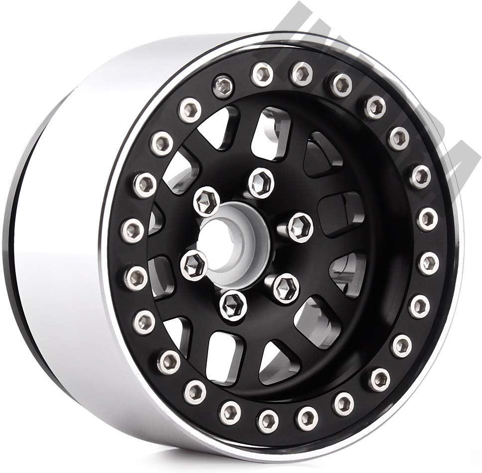 INJORA 4PCS 1.9 Inch Metal Wheel Rim Beadlock Wheel Hub for 1:10 RC Rock Crawler Traxxas TRX4 Axial SCX10 SCX10 II 90046 D90 12mm Hex Black