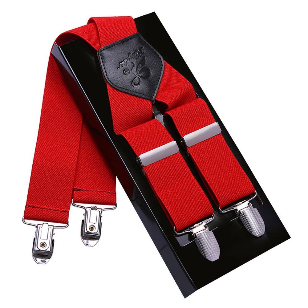 Bretelles Homme Larges 4 clips KANGDAI Bracelets Brace men en cuir véritable X Retour Durable Wide Elastic Straps Braces for Trousers