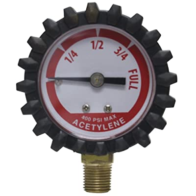 Uniweld G19D 1-1/2-Inch 400 PSI Acetylene Replacement Contents Gauge with Protective Rubber Boots - Power Brazing Accessories - .com