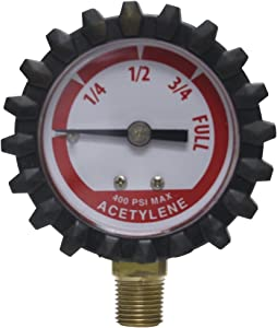 Uniweld G19D 1-1/2-Inch400 PSI Acetylene Replacement Contents Gauge with Protective Rubber Boots