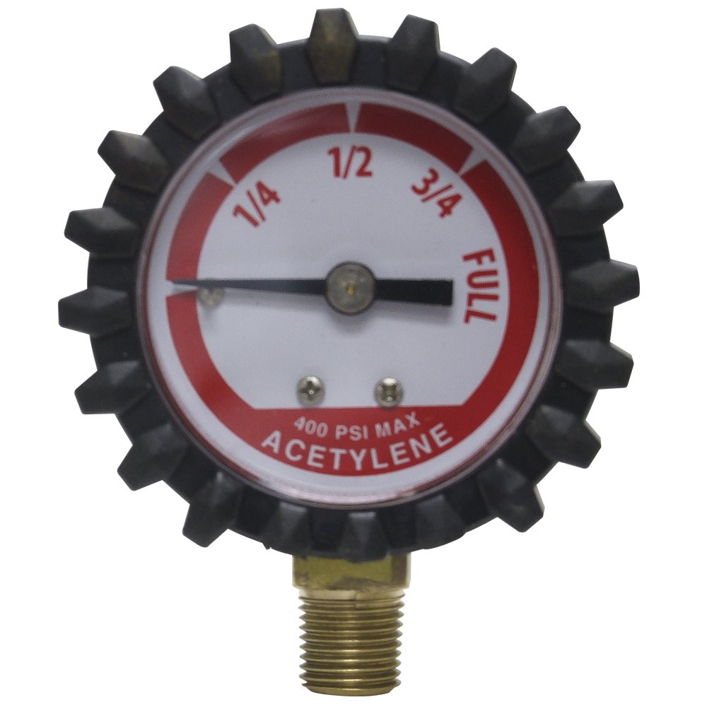 Uniweld G19D 1-1/2-Inch 400 PSI Acetylene Replacement Contents Gauge with Protective Rubber Boots