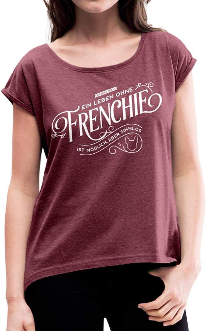 Bully Französische Bulldogge Frenchie Skizze Frauen T-Shirt mit gerollten Ärmeln