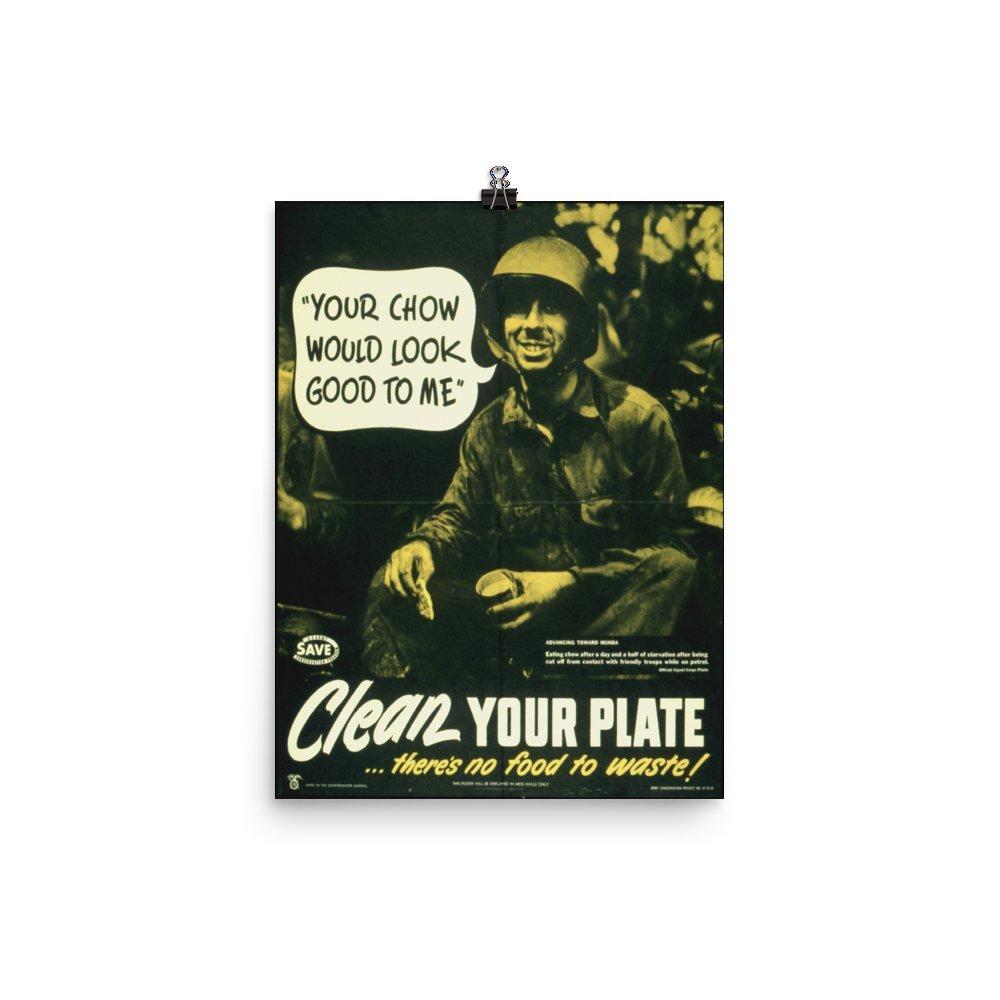ヴィンテージポスター – Clean Yourプレート – プレミアム光沢フォト用紙ポスター 12x16 B072L26RYS   12x16