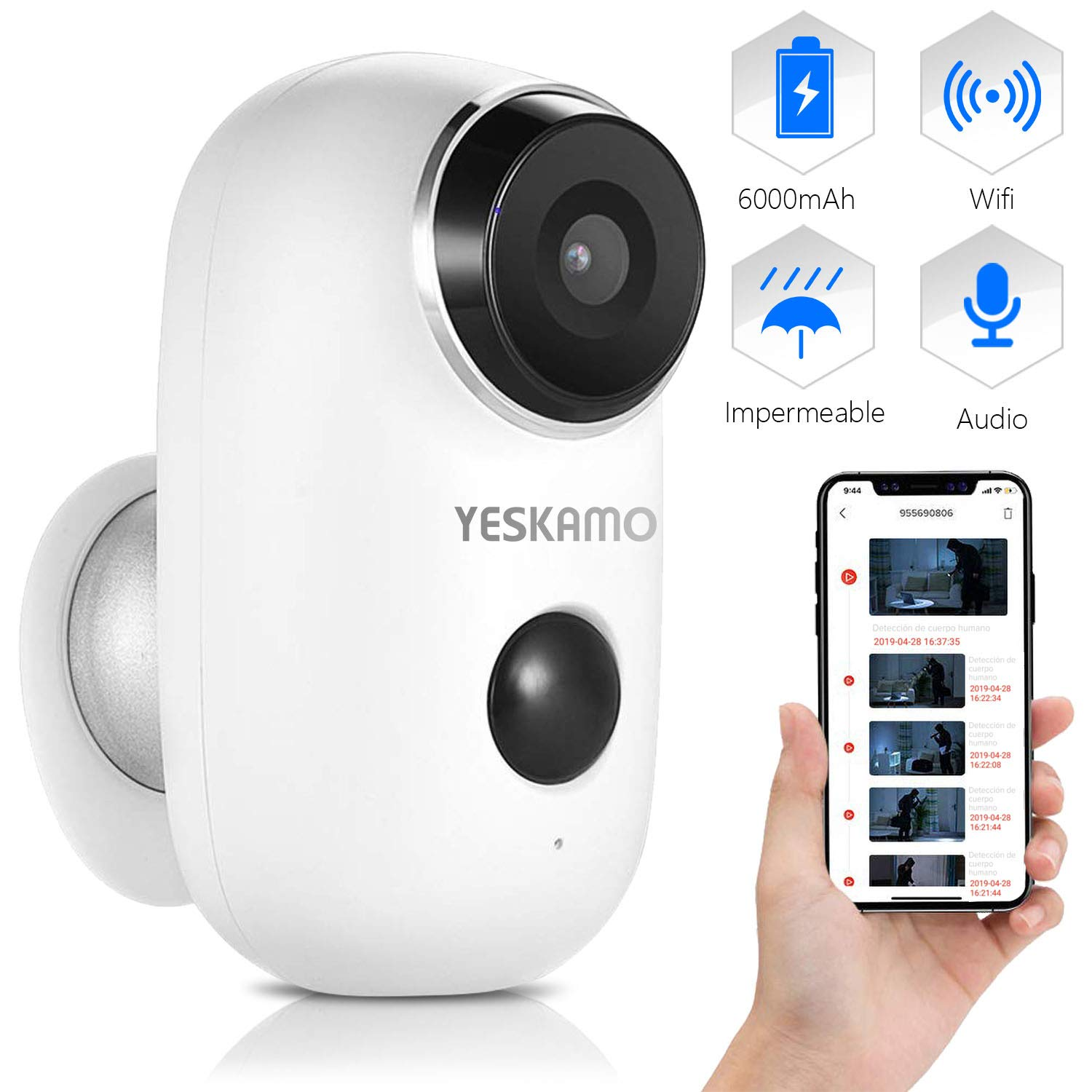 Wireless Battery Powered Security Camera for Home, House Video Surveillance Camera Outdoor WiFi Camera with Audio, YESKAMO Wire Free IP Camera PIR Motion Detection