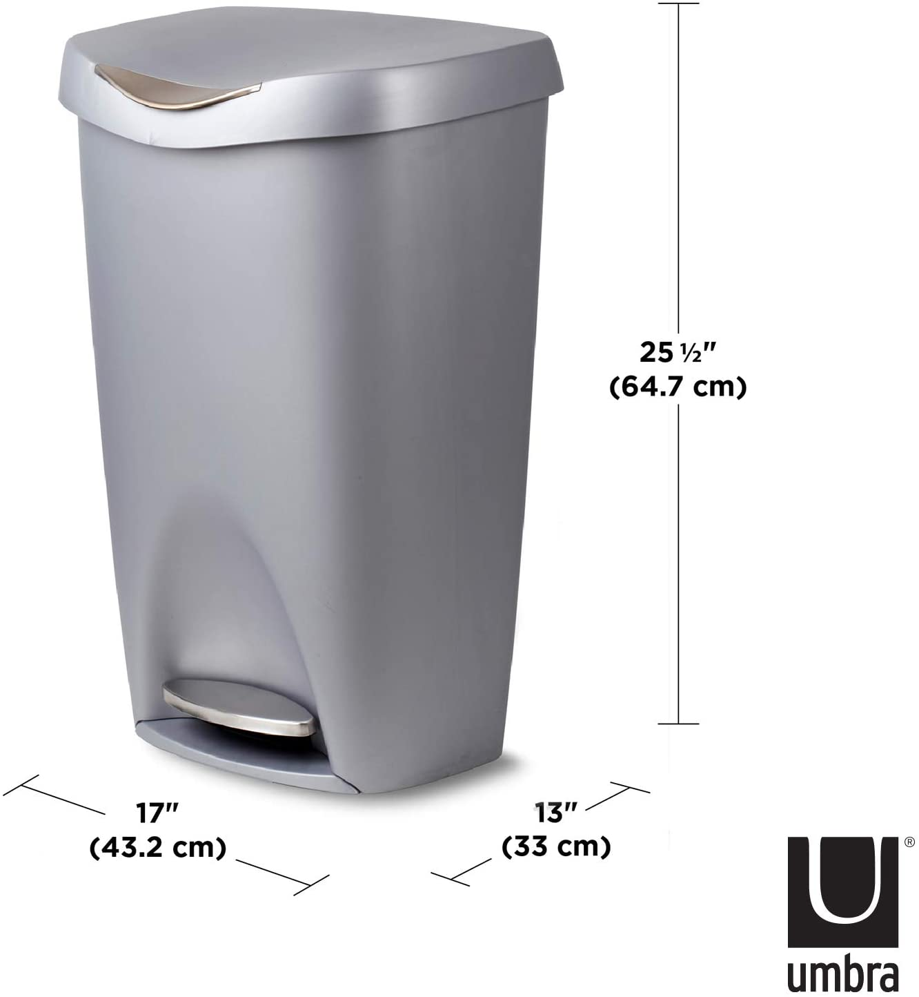 Amazon Com Umbra Brim 13 Gallon Trash Can With Lid Large Kitchen Garbage Can With Stainless Steel Foot Pedal Stylish And Durable Silver Nickel Home Kitchen