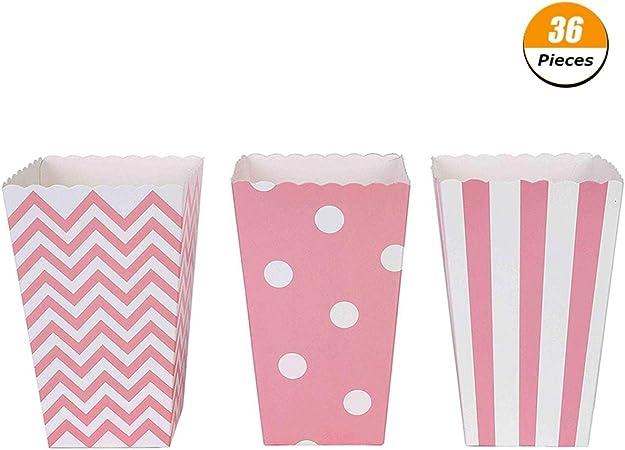 Shilia - 36 Cajas de Palomitas de maíz Desechables de cartón para Fiestas, barbacoas, teatros, niños: Amazon.es: Hogar