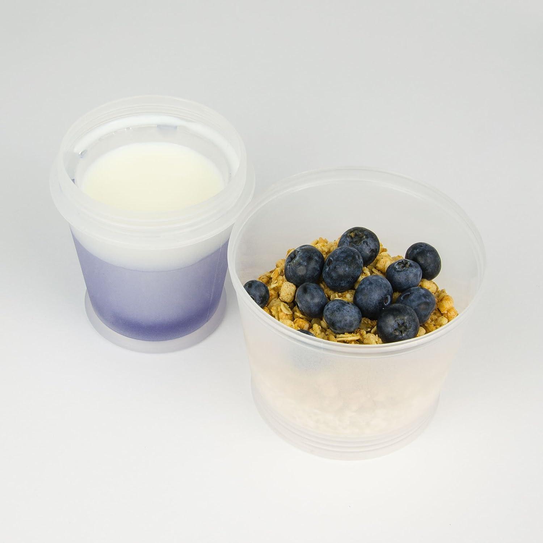 Cereales Taza de 2/piezas frutas to go Carcasa frutas aperitivos Dressing vaso de viaje para Corn Flakes Ring aislado para sistema de refrigeraci/ón para leche yogur Ensalada Cereals antideslizante