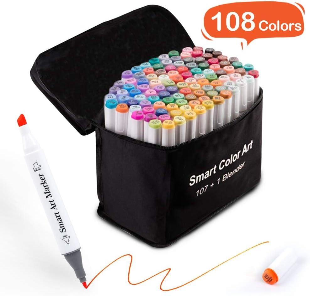 Smart Color Art 108パック アートマーカー 107色ぬりマーカー 1ブレンダー アルコールベースのデュアルティップ 油性マーカー ケース付き 大人 子供 マーキング 図面 スケッチに最適