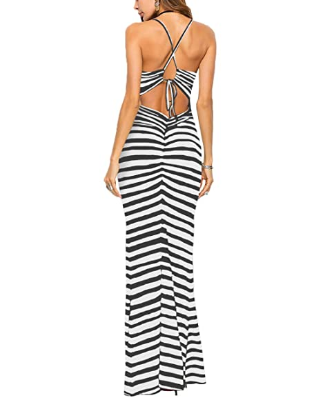 6002b93b036c Famulily Women's Sexy Bodycon Backless Striped Long Maxi Dress in Zebra  Stripes at Amazon Women's Clothing store: