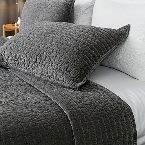 ELEGANT LIFE HOME Reversible Royal Cotton Velvet Pic-Stitch Bedding Quilt 108 x 92 Dusty Blue Oversized King