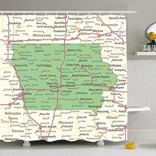 Ahawoso Shower Curtain 72x72 Inches Road Interstates America Iowa Map Shows State Borders City Mapping Urban American Atlas Cartographic Waterproof Polyester Fabric Set with Hooks