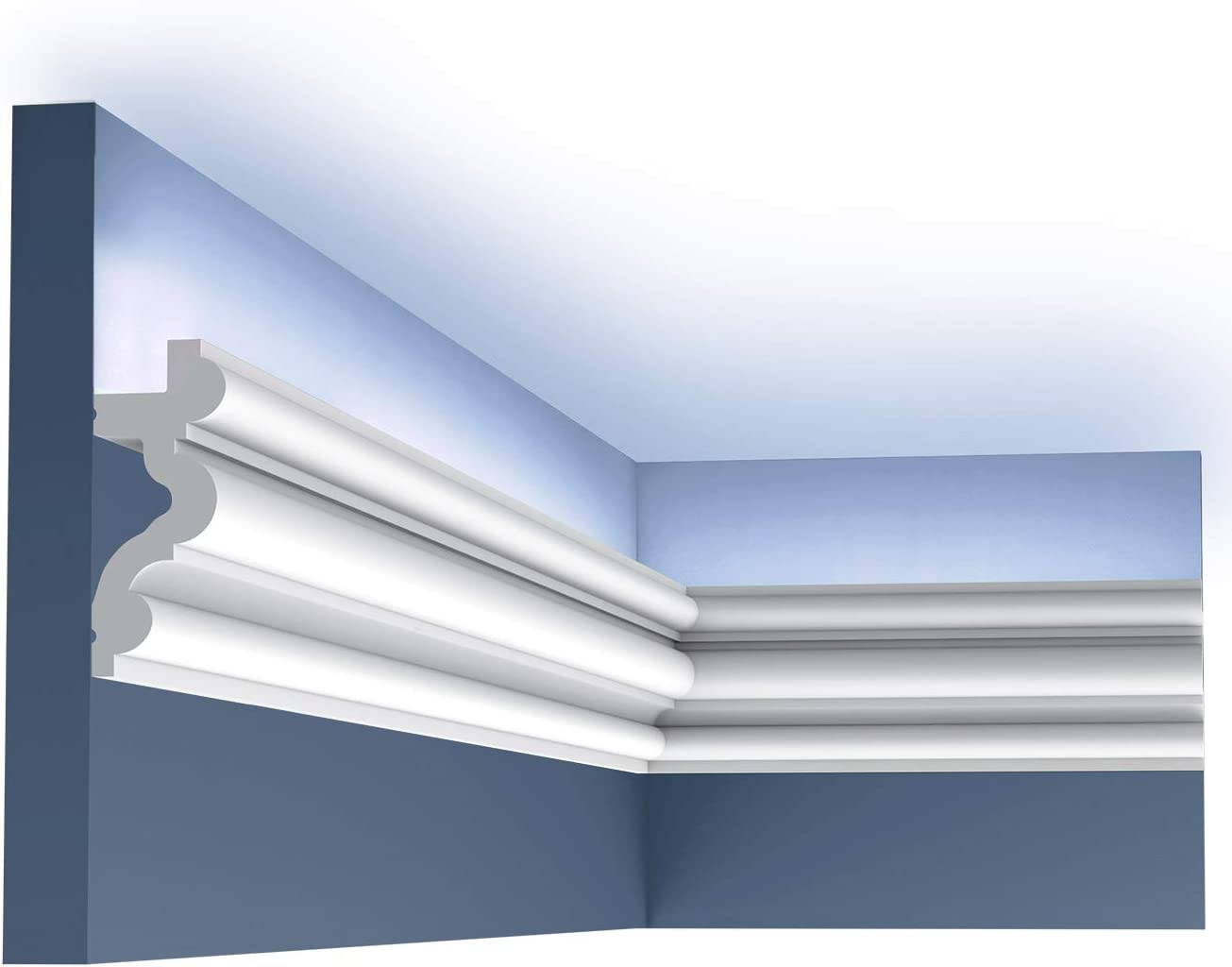 Cornice Moulding Orac Decor C324 LUXXUS AUTOIRE Decorative Moulding Moulding for Decoration Moulding for indirect Lighting Timeless Classic Design White 2 m
