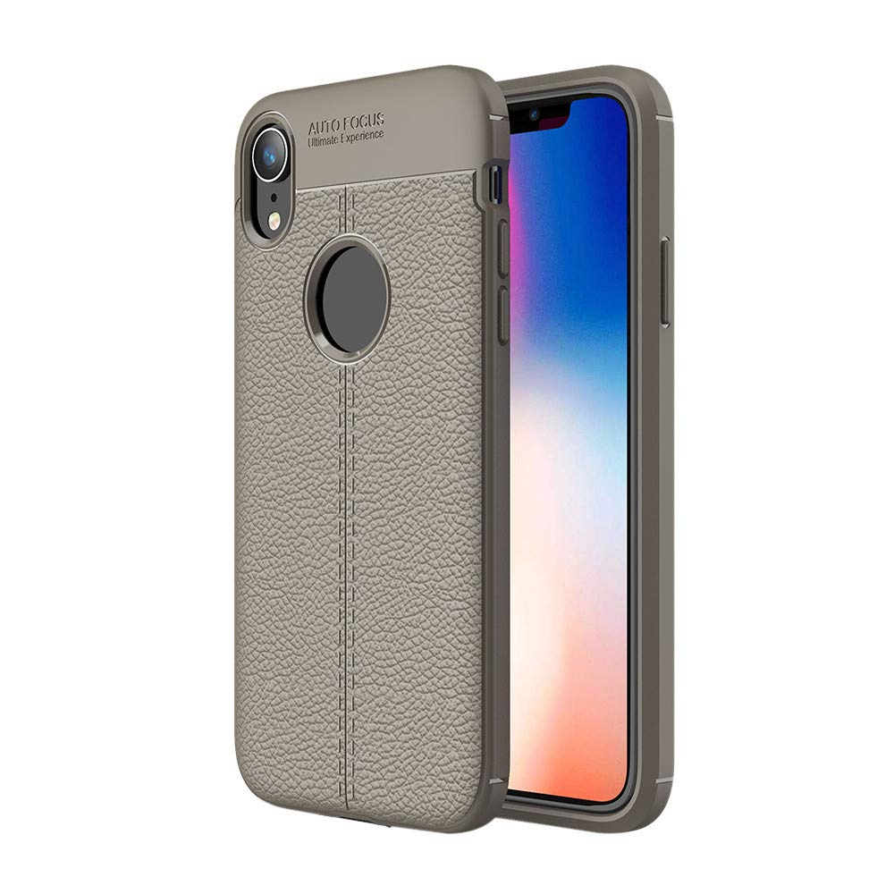 Kasien iPhone XS/iPhone XR/iPhone XS Max Case, Luxury Lychee Texture Shell Flexible TPU Protective Case Cover (Gray, For iPhone XR)