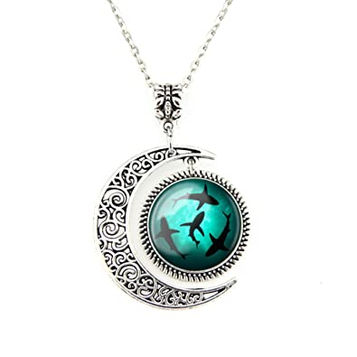 Amazon moon pendant circling sharks necklace shark jewelry moon pendant circling sharks necklace shark jewelry ocean pendant best friend jewelry gifts for bff aloadofball Gallery