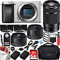 Sony a6300 4K Mirrorless Camera Silver (ILCE6300/S) with Sony 55-210mm Zoom Lens & Sigma 19mm & 30mm F2.8 Prime ART Lenses Triple Lens Bundle